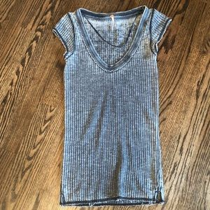 Free People XS Black and White Ribbed Shirt